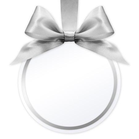 ball with silver satin ribbon bow on white background