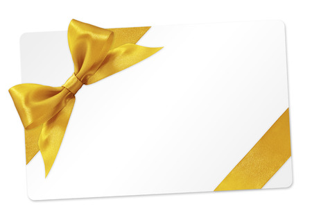 gift card with golden ribbon bow Isolated on white background 스톡 콘텐츠