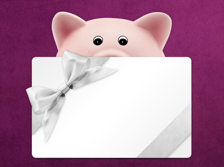 discounted: card gift with piggy bank, silver ribbon bow, Isolated on purple background Stock Photo