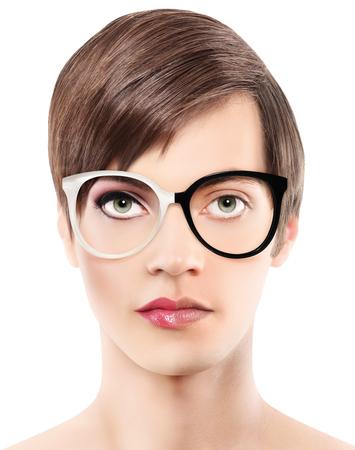 Eyewear bril half man half vrouw portret, dragen bril