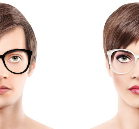 Eyewear glasses half man half woman portrait, wear spectacles Stock Photo