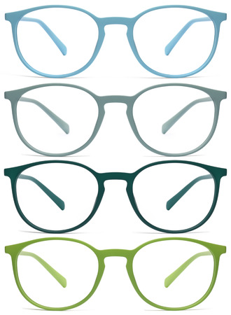 blue green background: glasses isolated on white background, green, blue, color
