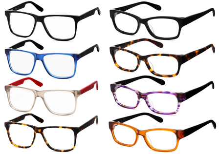 collections: glasses isolated on white background, in various colors