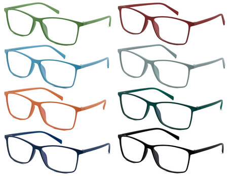 a glamour: glasses isolated on white background, in various colors
