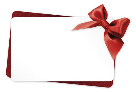 gift tag: gift card with red ribbon bow Isolated on white background Stock Photo