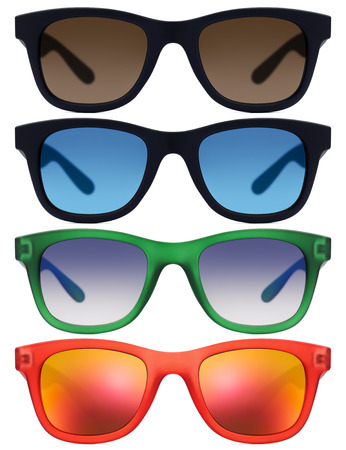 espejo: sunglasses isolated on white background in various colors
