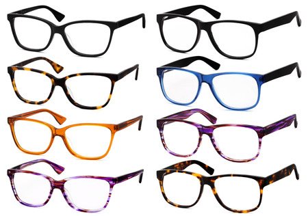 glasses eye: glasses isolated on white background, in various colors