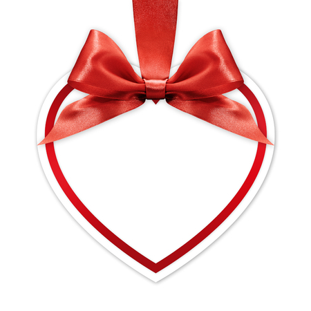 red ribbon bow: heart border frame with red ribbon bow isolated on white background