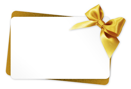 gift card with golden ribbon bow Isolated on white background Archivio Fotografico