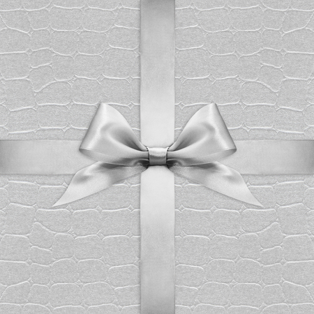 argent: Shiny silver satin ribbon bow on argent background