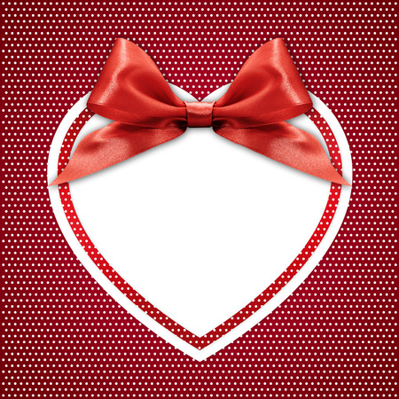 bow ribbon: white heart border frame with red ribbon bow on red background