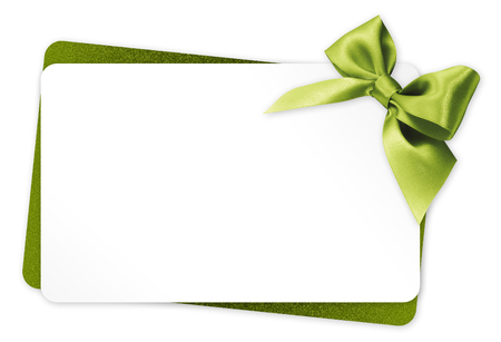 surprise gift: gift card with green ribbon bow Isolated on white background