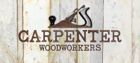 planer: carpenter text with planer on wooden background