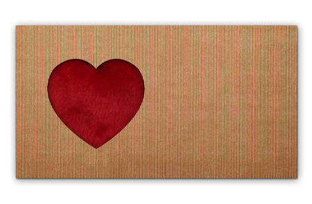 shaped: red heart shaped on cardboard Stock Photo