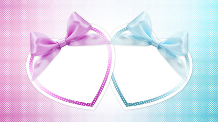 new baby: shapes of hearts with pink and blue ribbon bow Stock Photo
