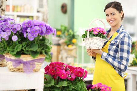 primroses: florist woman smiling with white wicker basket flowers of primroses