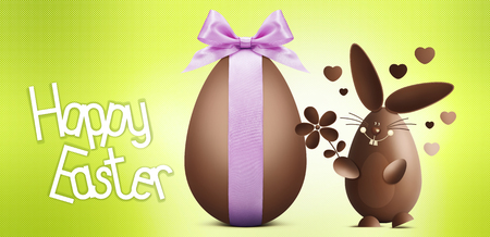 funny love: happy easter text with chocolate egg and rabbit isolated on green background
