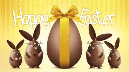 chocolate egg: happy easter text with chocolate egg and bunnies on yellow background