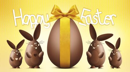 huevo caricatura: texto feliz de Pascua con el huevo de chocolate y conejitos sobre fondo amarillo