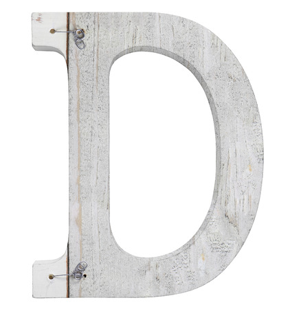 stapled: letter d isolated on white background grunge texture
