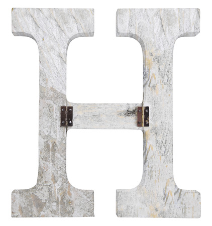 stapled: letter h isolated on white background grunge texture