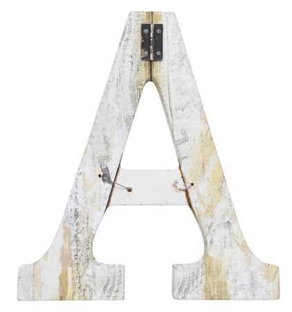 stapled: letter a isolated on white background grunge texture Stock Photo