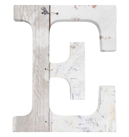 stapled: letter e isolated on white background grunge texture