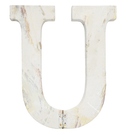 stapled: letter u isolated on white background grunge texture