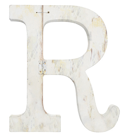 stapled: letter r isolated on white background grunge texture Stock Photo