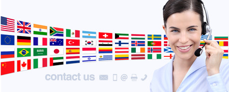 contact us, customer service operator woman smiling with headset smiling isolated on international flags background