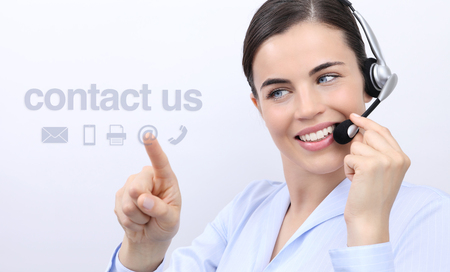 contact us, customer service operator woman with headset smiling and touch icon on screen
