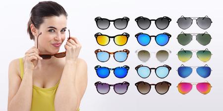 mirrored: fun woman with sunglasses