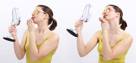 woman mirror: fun woman with lipstick and mirror, joyful isolated on white