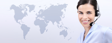 contact us, customer service operator woman with headset smiling,  isolated on international map background