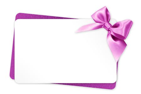 gift card with pink ribbon bow on white background Foto de archivo