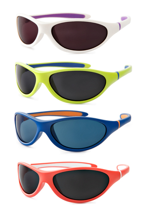 enveloping: set sport sunglasses isolated on white background, in various colors Stock Photo