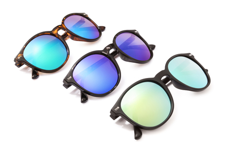 set sunglasses isolated on white background in various colors