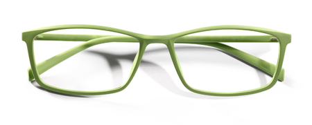 protecting spectacles: green spectacles isolated on white background Stock Photo