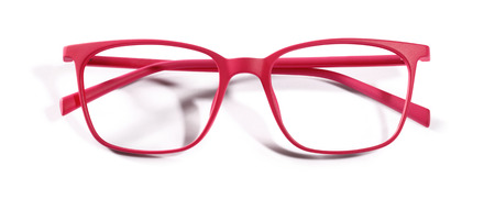 specs: red spectacles isolated on white background