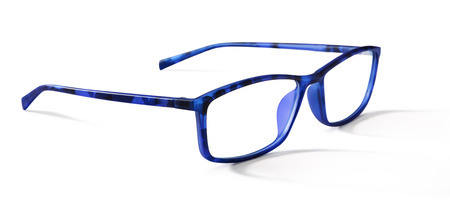 protecting spectacles: blue spectacles isolated on white background