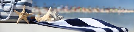 Borsa sulla spiaggia con stelle marine, coperture e tovaglioli blu