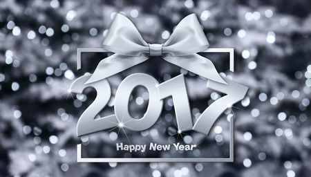 ribbon background: 2017 Happy New Year text in blurred Background for your Flyers and Greetings Card. Ideal to use for parties invitation, Dinner invitation, Christmas