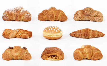 cream puff: Set croissants isolated on white background Stock Photo
