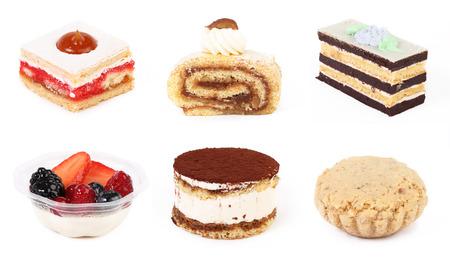 pasteles: Conjunto de pastelería y aisladas sobre fondo blanco Foto de archivo