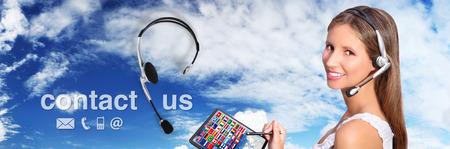 contact center: call center operator global international contact concept Stock Photo
