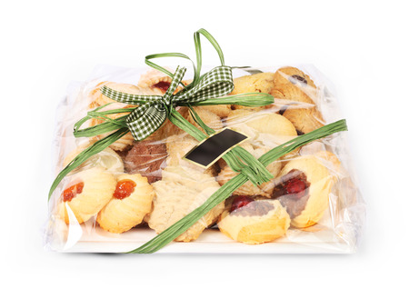 cookie gift package with green bow