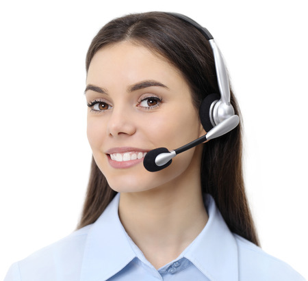 contact us, customer service operator woman with headset smiling isolated on white background.