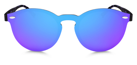 spotted sunglasses blue and purple mirror lenses isolated on white background