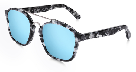 gray gradient reflection: spotted sunglasses blue mirror lenses isolated on white background. Stock Photo