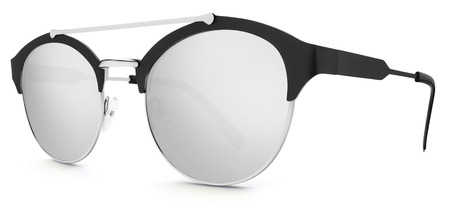 argent: silver and black sunglasses argent mirror lenses isolated on white background.